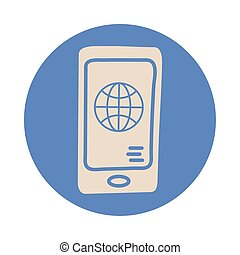 smartphone with sphere browser block style icon