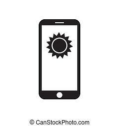 Smartphone with sun on the screen