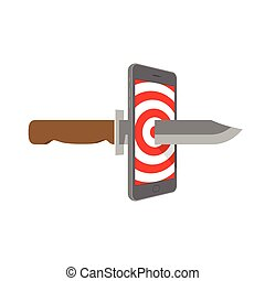 Smartphone with target pattern on screen and knife set internet cyber crime concept idea illustration isolated on white background, with copy space
