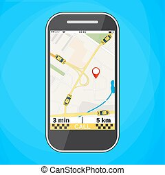 Smartphone with taxi service application