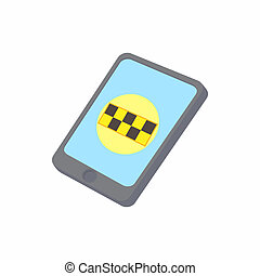 Smartphone with taxi service application icon
