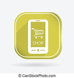 symbol cart online store. Color square icon