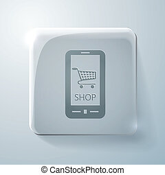 symbol cart online store. Glass square icon
