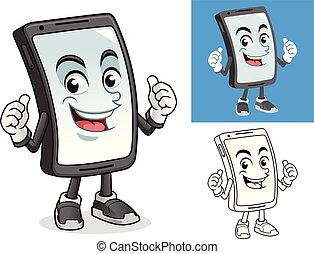 Smartphone with Thumbs Up Gesture Cartoon Character Mascot Illustration