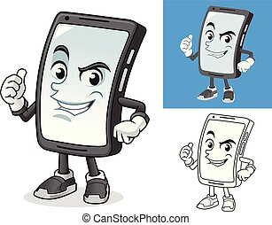 Smartphone with Thumbs Up Sign Cartoon Character Mascot Illustration