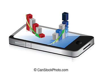 smartphone with up and down business graphs