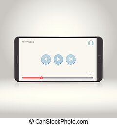Smartphone with video player on the screen