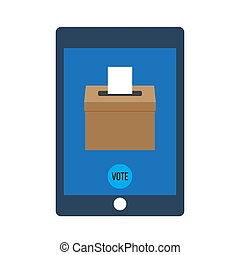 Smartphone with voting app on the screen