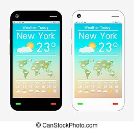 smartphone with weather application