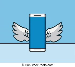 Smartphone with wings HD animation
