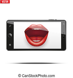 Smartphone with women's lips on the screen.