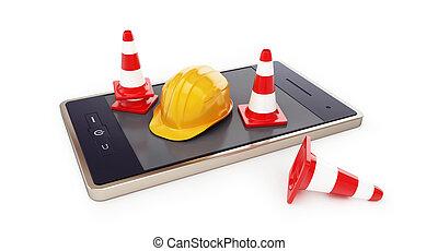 smartphone, working helmet on a white background 3D illustration, 3D rendering