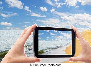 smartphone, wybrzeże, fotografowanie