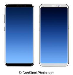 smartphone, y, pantalla grande, aislado, fondo negro, blanco