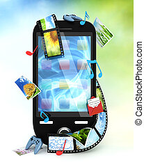 smartphone, z, fotografie, video, muzyka, i, igrzyska