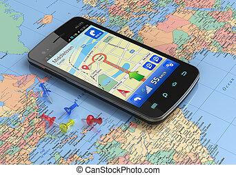 smartphone, z, gps, nawigacja, na, światowa mapa