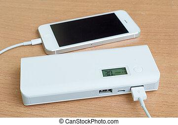 smartphone, z, niejaki, moc, bank, na kasetce