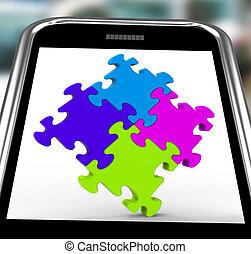 smartphone, zagadka, skwer, jedność, widać