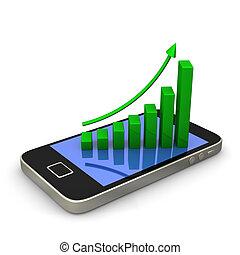 smartphone, zielony, wykres
