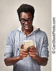 smartphone, zwarte man