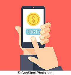 Smartphone,gold coin, donate button