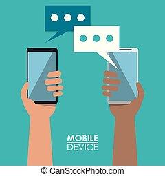 smartphones, γραφικός , κινητός , αφίσα , ανάμεσα , ανακοίνωση έμβλημα