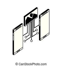 smartphones, フォーマット, イメージ, 装置, 回路, 電子