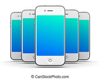 smartphones, aimer, render., -, fond, iphone, blanc, 3d
