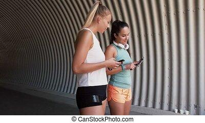 smartphones, amis, femmes, ou, femme