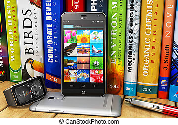 Smartphones and smartwatch on bookshelf - Creative abstract...