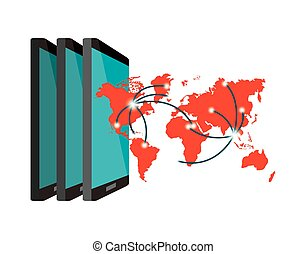 smartphones and world map