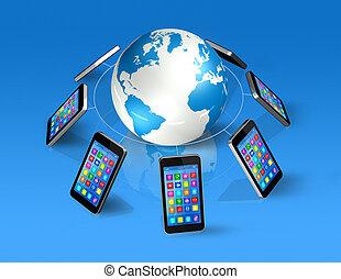 smartphones, autour de, globe, communication, global, mondiale