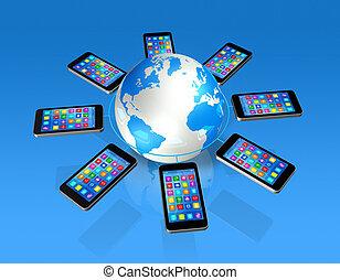 smartphones, autour de, globe, communication, global, ...