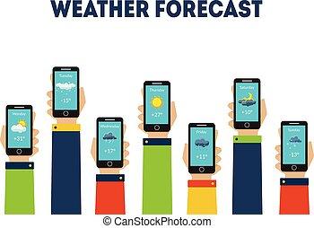 smartphones, besitz, abbildung, prognose, anwendungen, vektor, menschliche hände, wetter