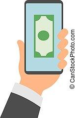 smartphones, beweglich, app, screen., bankwesen, vektor, halten hände