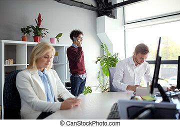 smartphones, bureau, equipe affaires