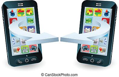 Smartphones communicating via wireless technology concept