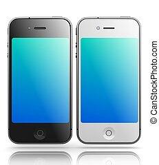 smartphones, como, render., -, plano de fondo, negro, iphone, blanco, 3d