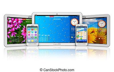 smartphones, conjunto, tableta, computadoras