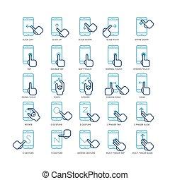 smartphones, contour, icônes, écran, main, gestes, ensemble, toucher