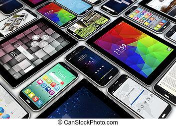 smartphones, e, tabuletas
