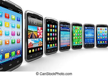 smartphones, en, beweeglijk, toepassingen
