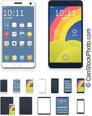 smartphones, ensemble, tablette, générique, ordinateurs, vecteur, interface, icône