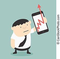 smartphones, firma, forevise, kort, tilvækst, forretningsmand