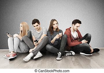 smartphones, grupa, młodzież