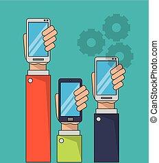 smartphones, hintergrundfarbe, halten hände, geschäftsmann