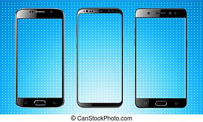 Smartphones isolated with blank screen