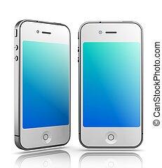 smartphones, mögen, render., -, hintergrund, iphone, weißes, 3d