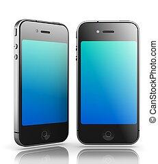 smartphones, mögen, render., -, hintergrund, schwarz, iphone, weißes, 3d