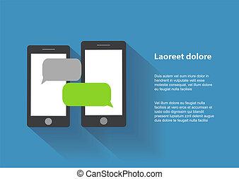 smartphones, pantalla, dos, negro, blanco, discurso, burbujas